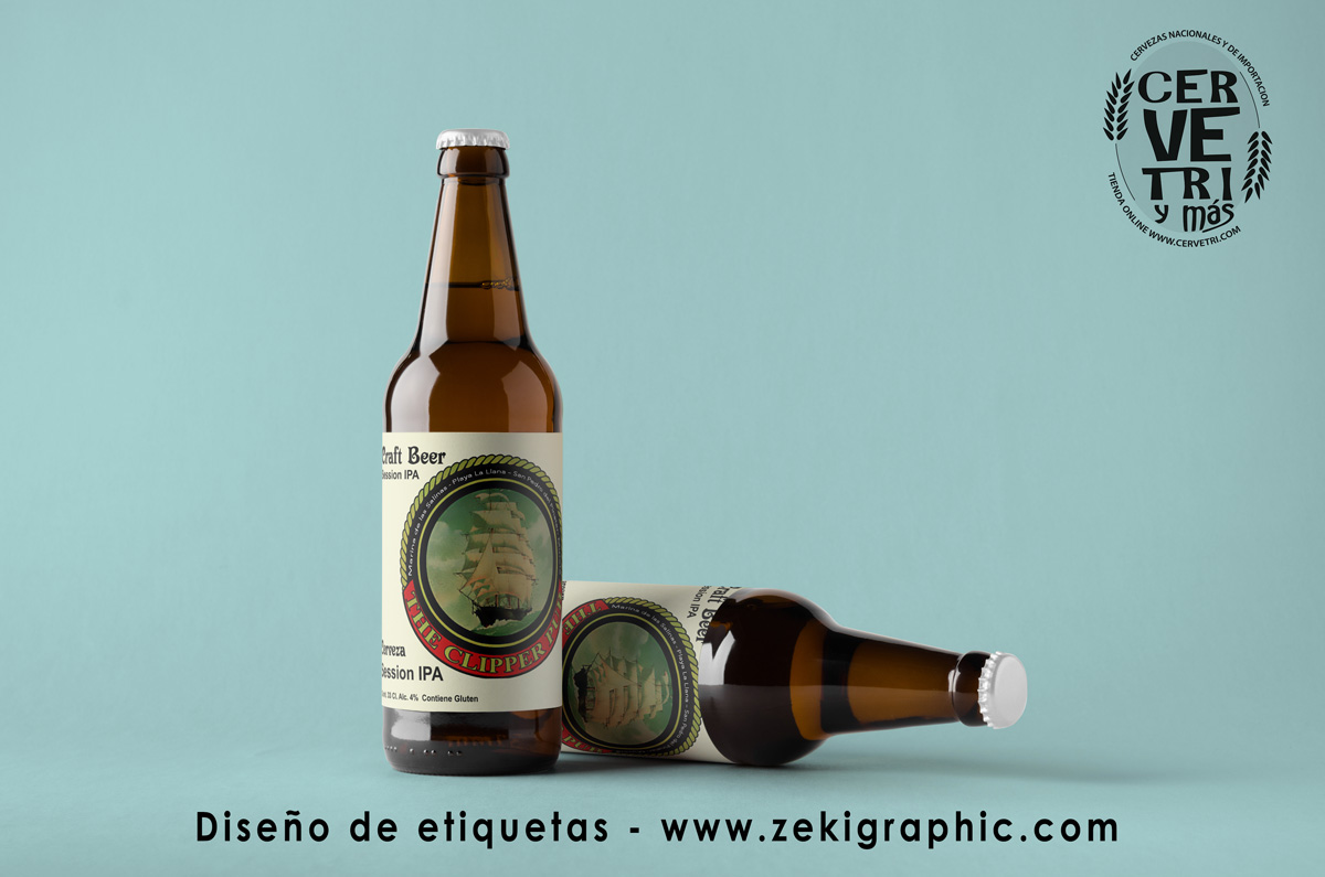 Beer Bottle Mock-Up - Two Bottles. Blank Label