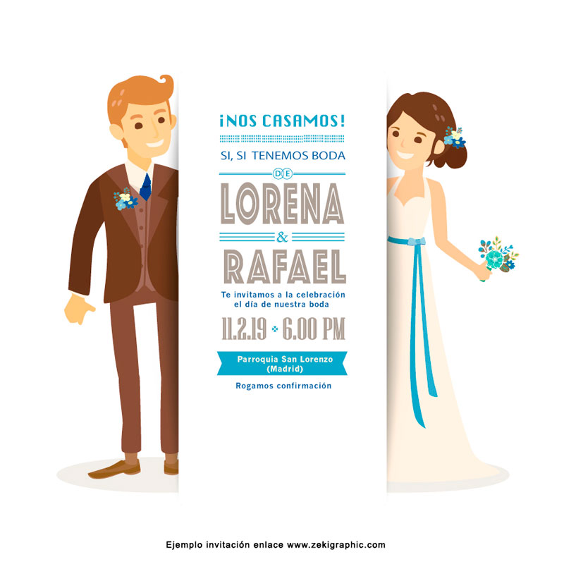 Wedding couple groom and bride on white background, Wedding invitation card